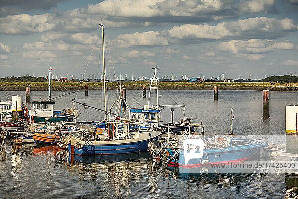 Kleine alte Fischkutter liegen am neuen Meldorfer Hafen am Steg  spätsommerlich-sonnig