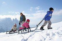 Frau mit ihren drei Kindern auf Schnee