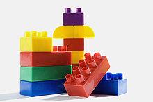Nahaufnahme von Kunststoff-Block Spielzeug