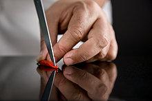 Close up of ein Chef Hände deseeding ein red bird's Eye chili