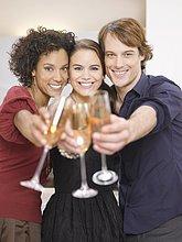 Freundschaft,Party,zuprosten,anstoßen,Champagner