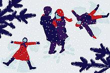 Paar umarmt sich und Kinder machen Schneeengel