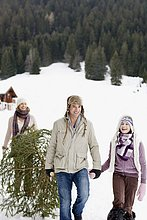 Familie trägt Weihnachtsbaum im Schnee