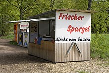 Verkaufsstand für Spargel, Bergstraße, Hessen, Deutschland, Europa