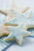 sternförmig,weiß,blau,Keks,Eiscreme,Eis