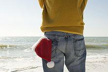 stehend,Mann,sehen,Strand,Ansicht