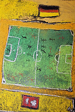 Fußballfeld mit Deutschlandfahne, Kreide-Kinderzeichnung, auf den Boden gemalt, Deutschland, Europa