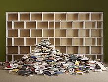 Haufen ,leer ,Buch ,Regal