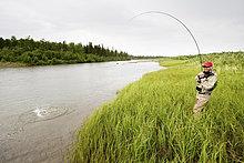 Fliegenfischer kämpft ein Rotlachs auf der Mulchatna River in der Bristol Bay, Südwest Alaska, Sommer