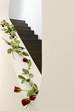 Treppenhaus dekoriert mit roten Rosen