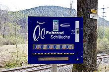 Automat für Fahrradschläuche bei Dahn, Pfälzer Wald, Rheinland-Pfalz, Deutschland, Europa