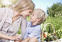 sitzend ,Sohn ,Decke ,Picknick ,Mutter - Mensch