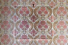 Alte Tapete aus den sechziger Jahren, Umrisse eines an der Wand aufgehängten Bilderrahmens, Stuttgart, Baden-Württemberg, Deutschland, Europa