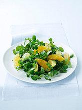 Brunnenkresse, Avocado und Orangensalat