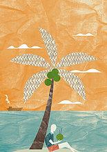 Mann mit Kokosnuss unter einer Palme am Strand