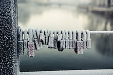 Deutschland, Baßaria, Landshut, gefrorene Loße Schleusen