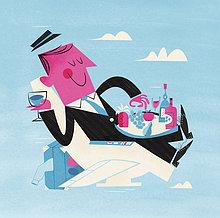 Glücklicher Geschäftsmann genießt Essen und Trinken in einem Flugzeugsitz