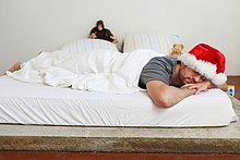 Mann,Hut,Bett,schlafen,Mittelpunkt,Erwachsener