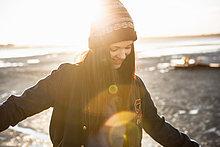 Frau ,Strand ,jung ,Spaß