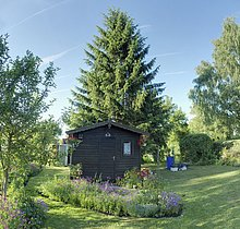 Allotment garden with a little cottagee Bavaria, Germany