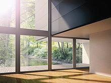 Interieur des modernen Wohnzimmers mit Blick auf den Bach, 3D-Rendering