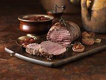 Abendessen,Winter,Frucht,Weihnachten,rot,Soße,Zwiebel,Wild - Fleischgericht