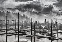 Fischereihafen,Fischerhafen,heben,über,Dunst,weiß,schwarz,Nebel,Ansicht,Bucht,Juneau