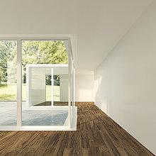 3D-Rendering von modernen Wohnräumen mit Blick auf den Garten