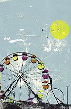 Mann steigt aus einem Hamsterrad zu einem Riesenrad