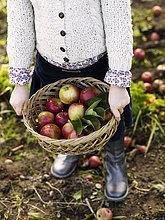 Girl holding fruit basket