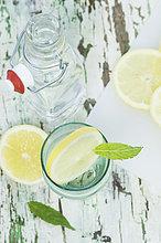 Zitronenscheibe und Minze in Wasserglas, Flasche