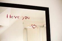 schreiben,Liebe,Lippenstift,Nachricht,Spiegel