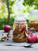 Schweden, Konservierte und frische Äpfel auf dem Tisch