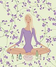 Frau im Lotussitz mit Blumen und ätherischen Ölen