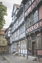 Deutschland, Quedlinburg, Fachwerkhausreihe