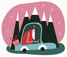 Weihnachtsmann fährt im Auto mit einem Geschenk durch Berglandschaft