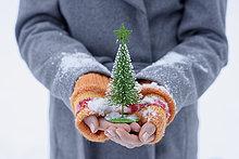 Teenagermädchen mit kleinem Weihnachtsbaum