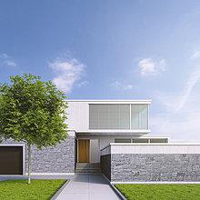 Modernes Einfamilienhaus, 3D-Rendering