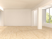 Leerer, geräumiger Raum mit Holzboden, 3D-Rendering