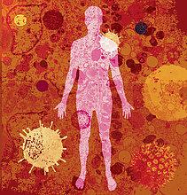 Menschlicher Körper mit vielen verschiedenen Viren