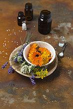 Blüten von Heilpflanzen, Medizinflaschen und Globuli auf rostigem Grund